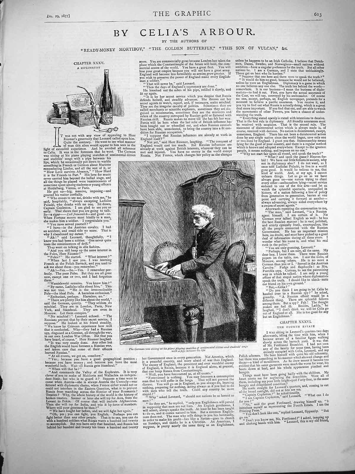 [Print 1877 German Man Piano Music Smoking Pipe 613M116 Old Original]