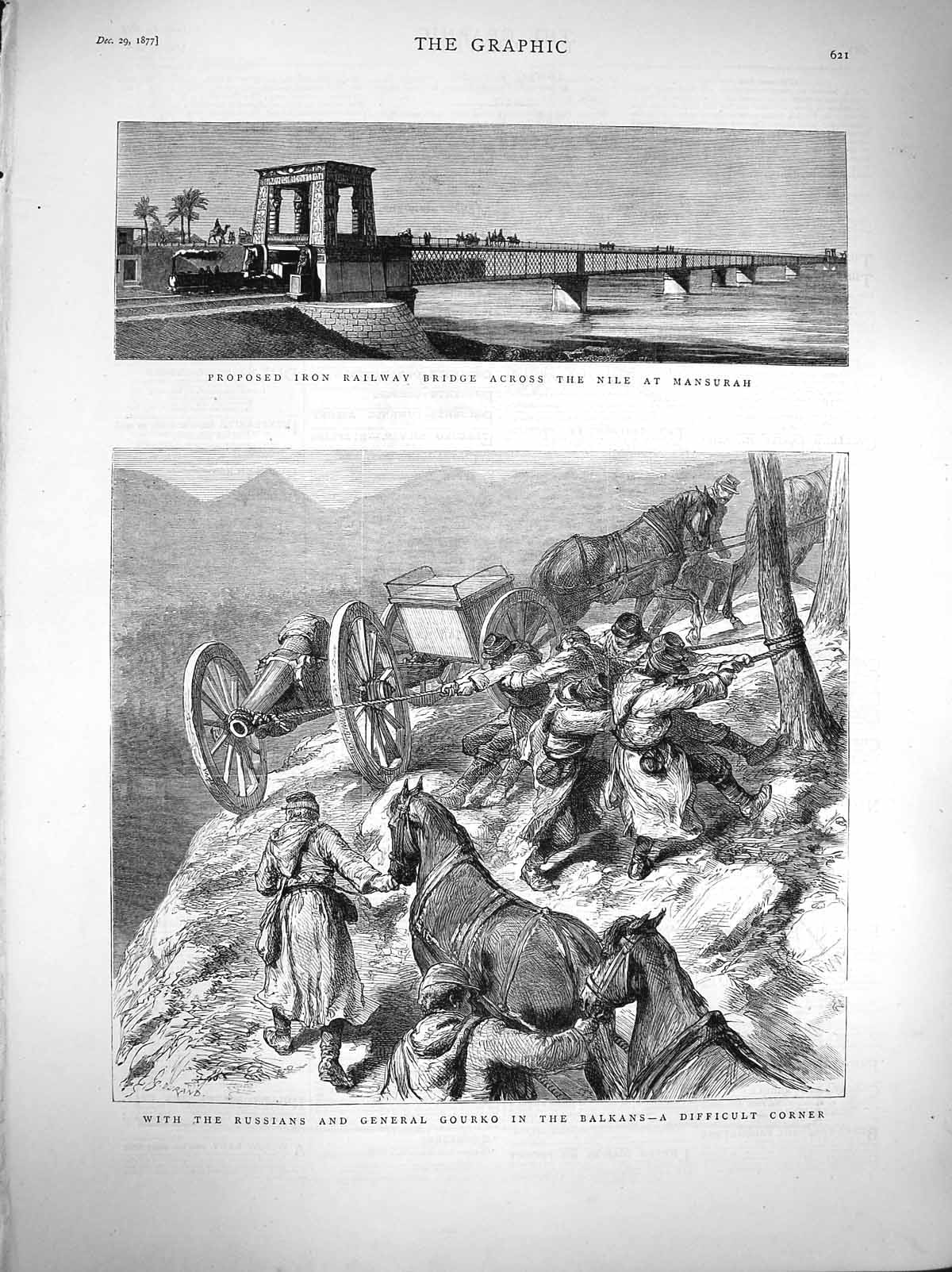 [Print 1877 Iron Railway Nile Mansurah Russian Gourko Soldiers 621M116 Old Original]