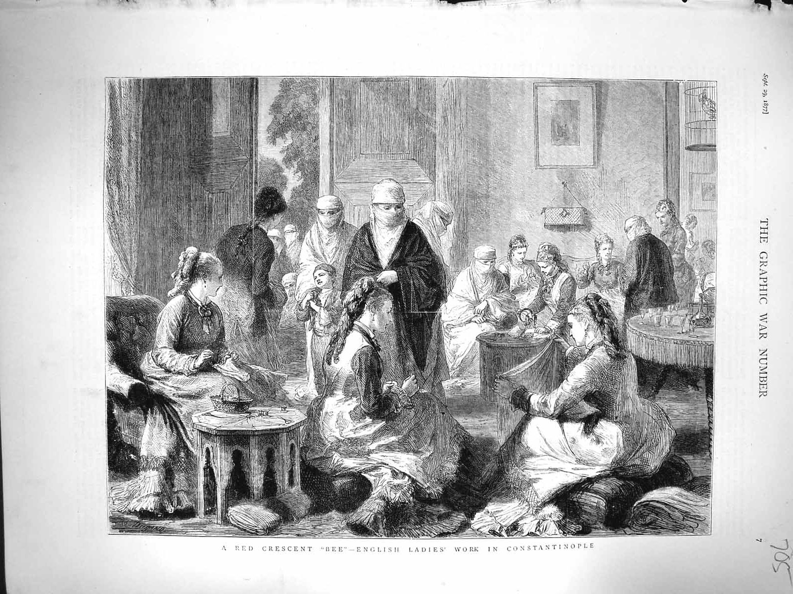 [Print 1877 English Ladies Working Sewing Constantinople 705M116 Old Original]