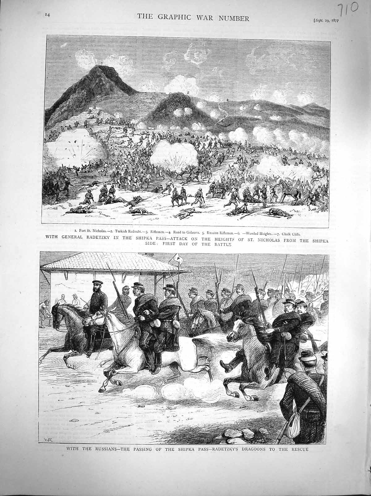 [Print 1877 General Radetzky Shipka Pass War Russian Soldiers 710M116 Old Original]