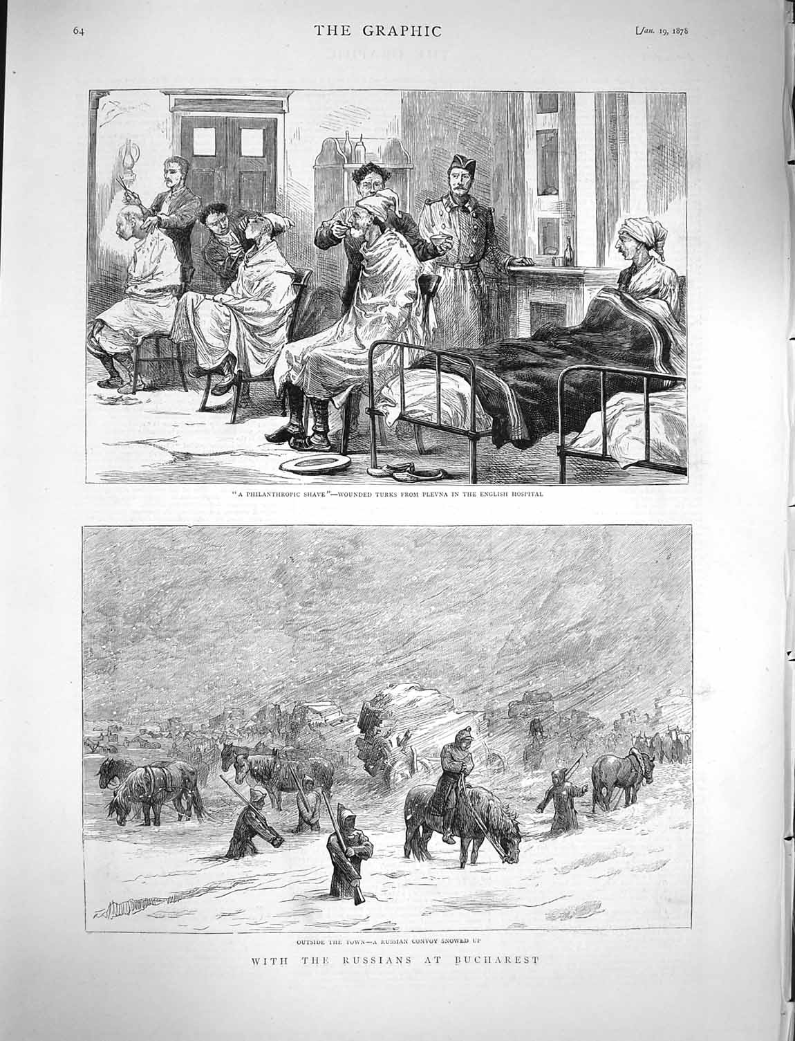 [Print 1878 Russian Soldiers Bucharest English Hospital Plevna 064M117 Old Original]
