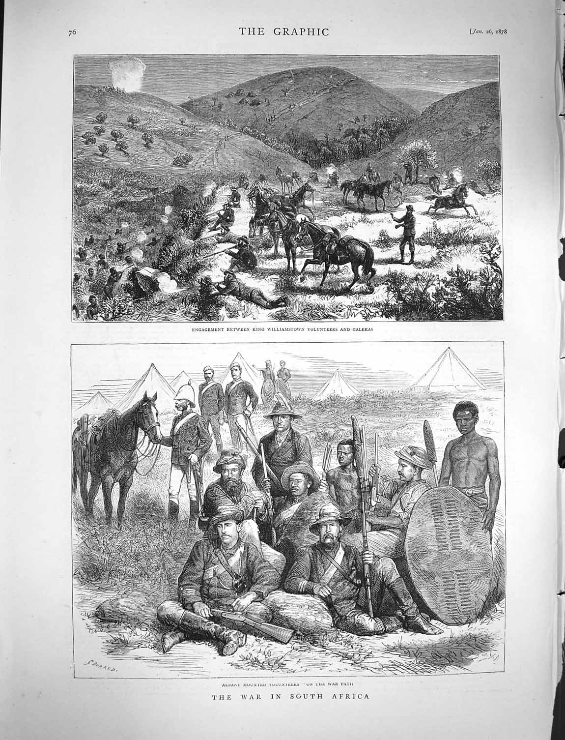 [Print 1878 War Africa Albany Soldiers King Williamstown 076M117 Old Original]