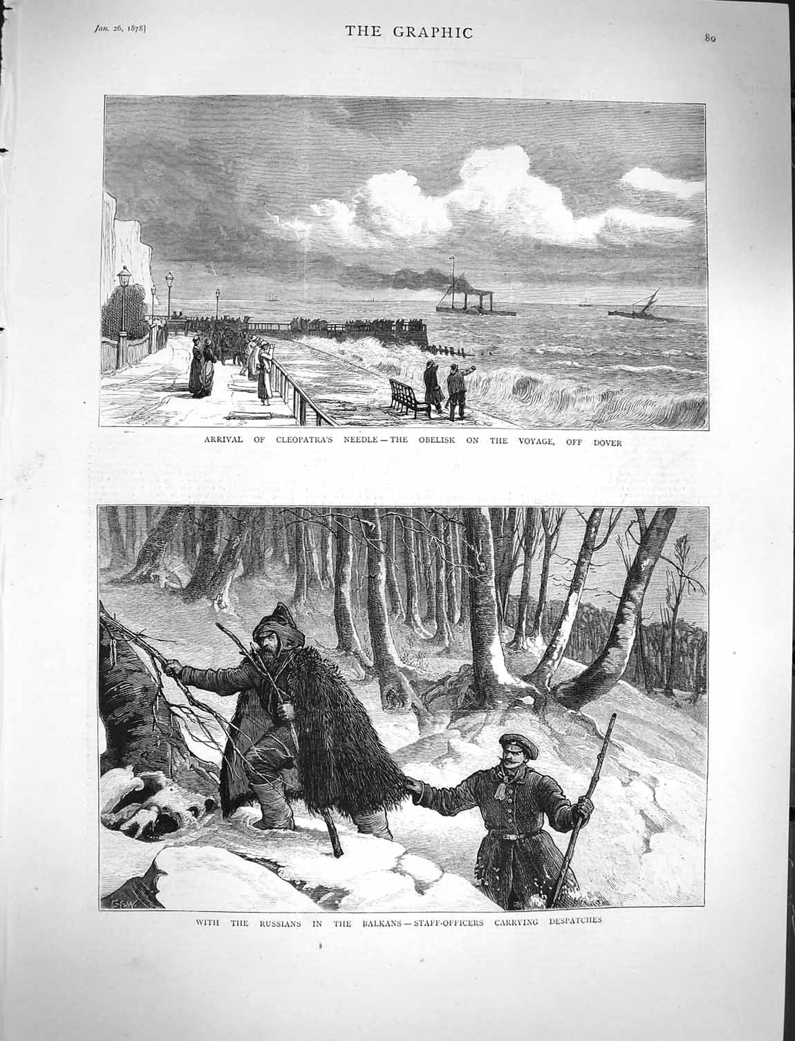 [Print 1878 Cleopatra'S Needle Dover Russian Soldiers Balkans 089M117 Old Original]
