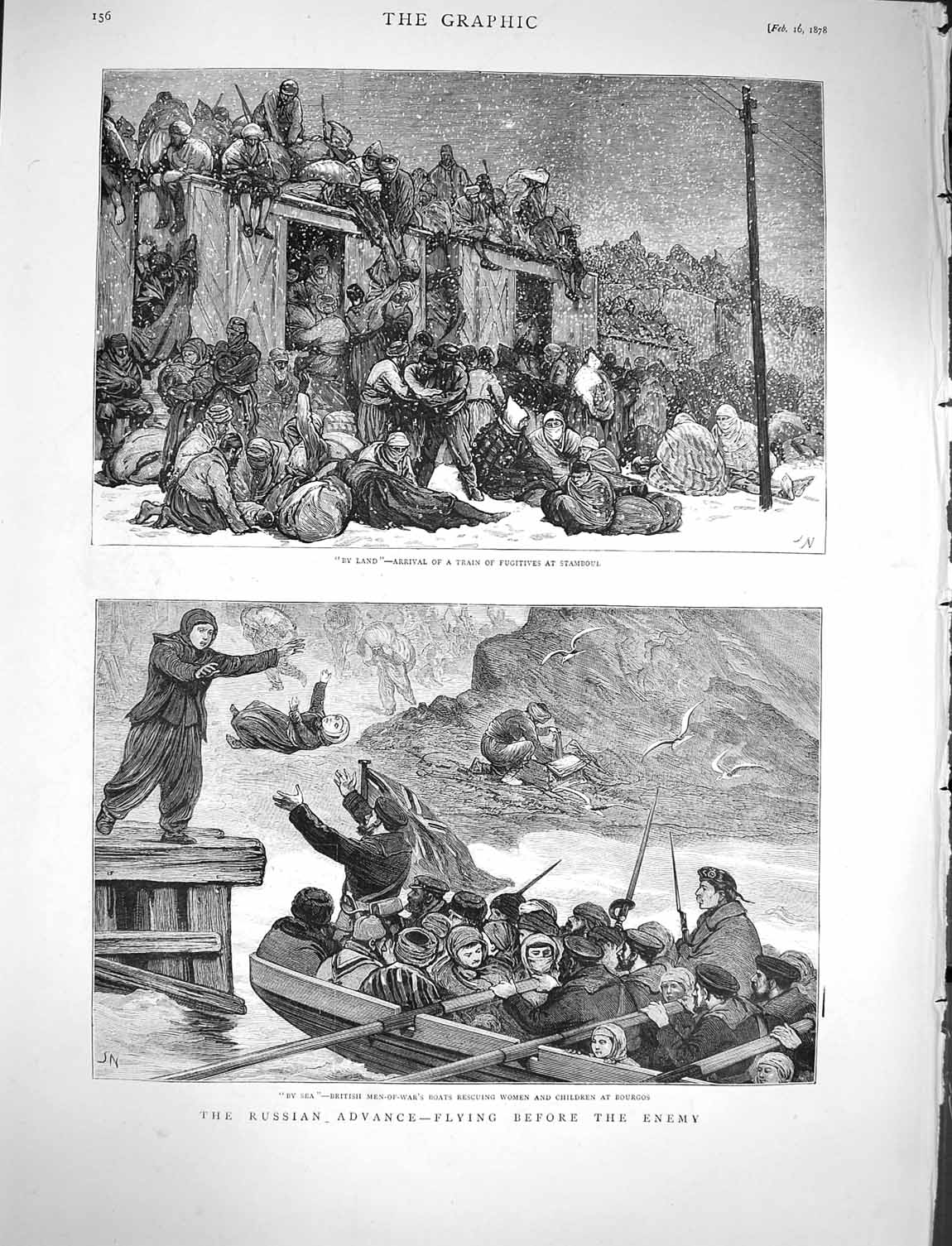 [Print 1878 Russian Soldiers Train Stamboul Bourgos Boats War 156M117 Old Original]
