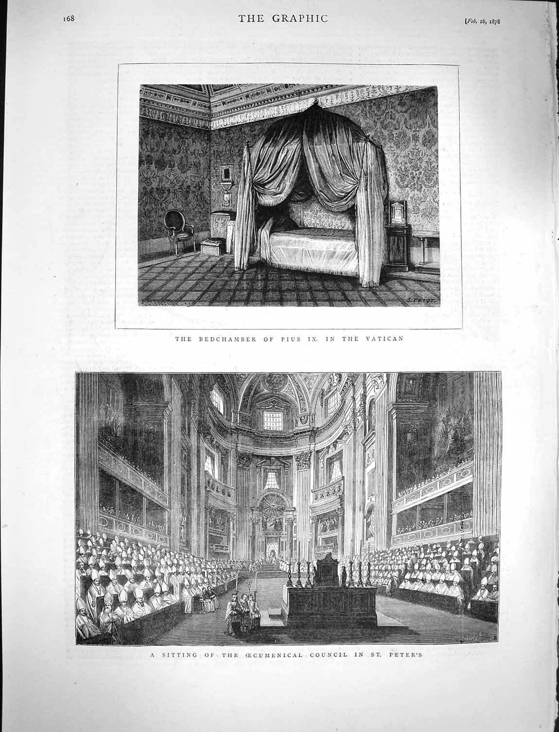 [Print 1878 Bedchamber Pope Pius Vatican Oecumencial Council 168M117 Old Original]