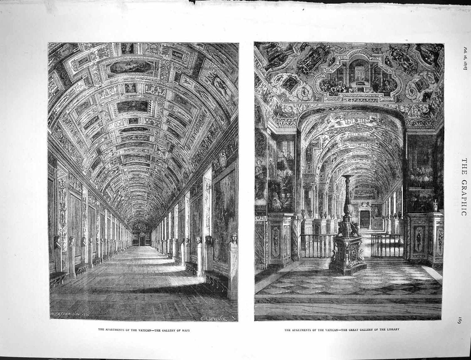 [Print 1878 Apartments Vatican Gallery Maps Library Rome Italy 169M117 Old Original]