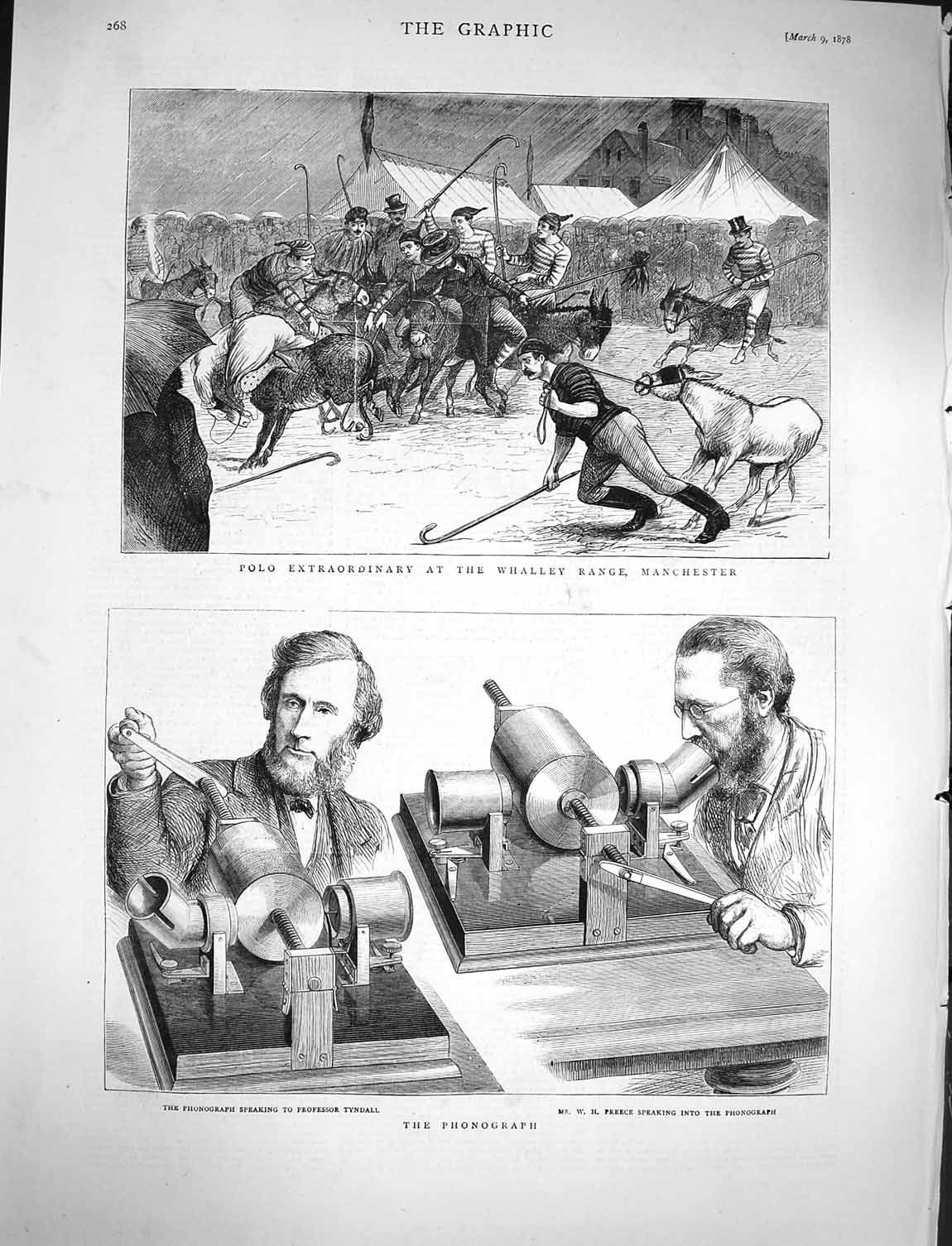 [Print 1878 Phonograph Tyndall Preece Polo Whalley Manchester 268M117 Old Original]
