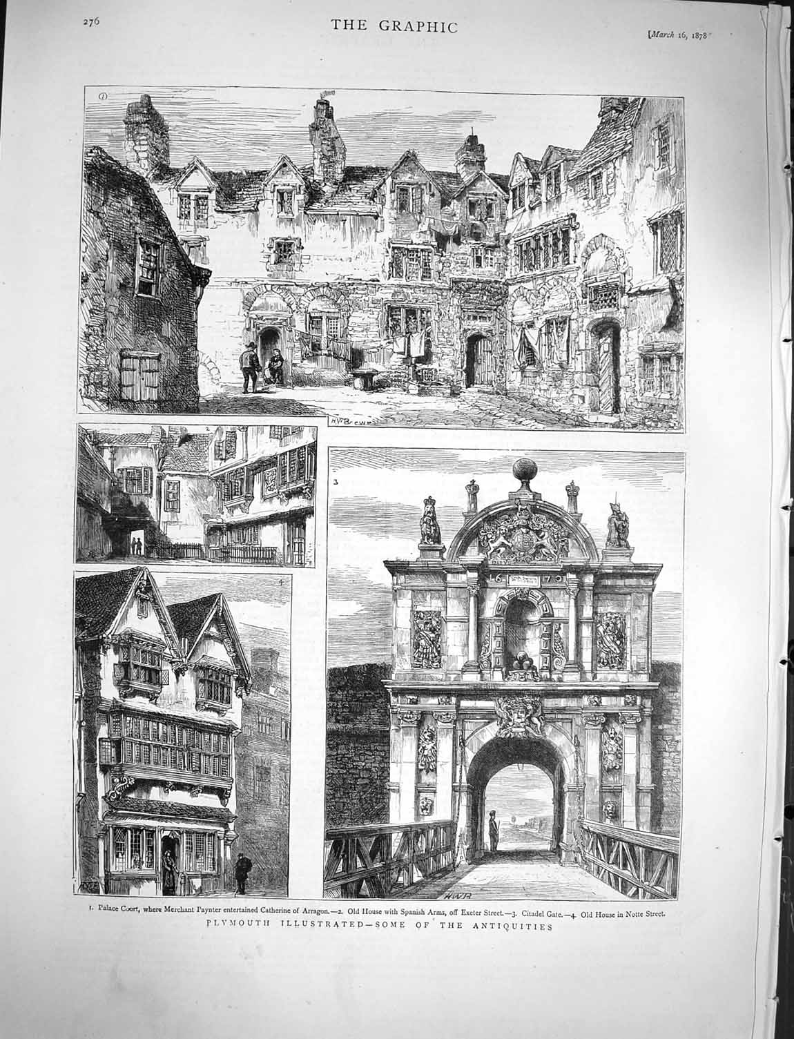 [Print 1878 Plymouth Palace Court Citadel Gate Notte Arragon 276M117 Old Original]
