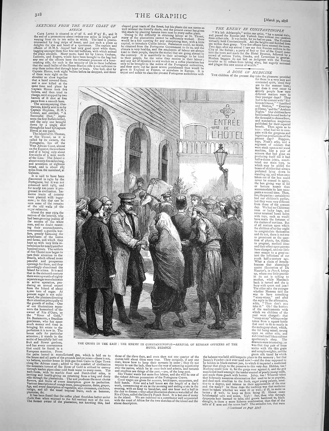 [Print 1878 Russian Officers Hotel Byzance Constantinople War 328M117 Old Original]