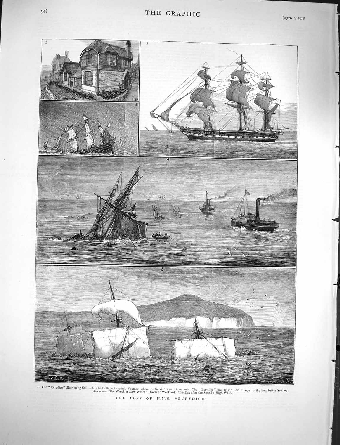[Print 1878 Ship Wreck H.M.S Eurydice Hospital Ventnor Divers 348M117 Old Original]
