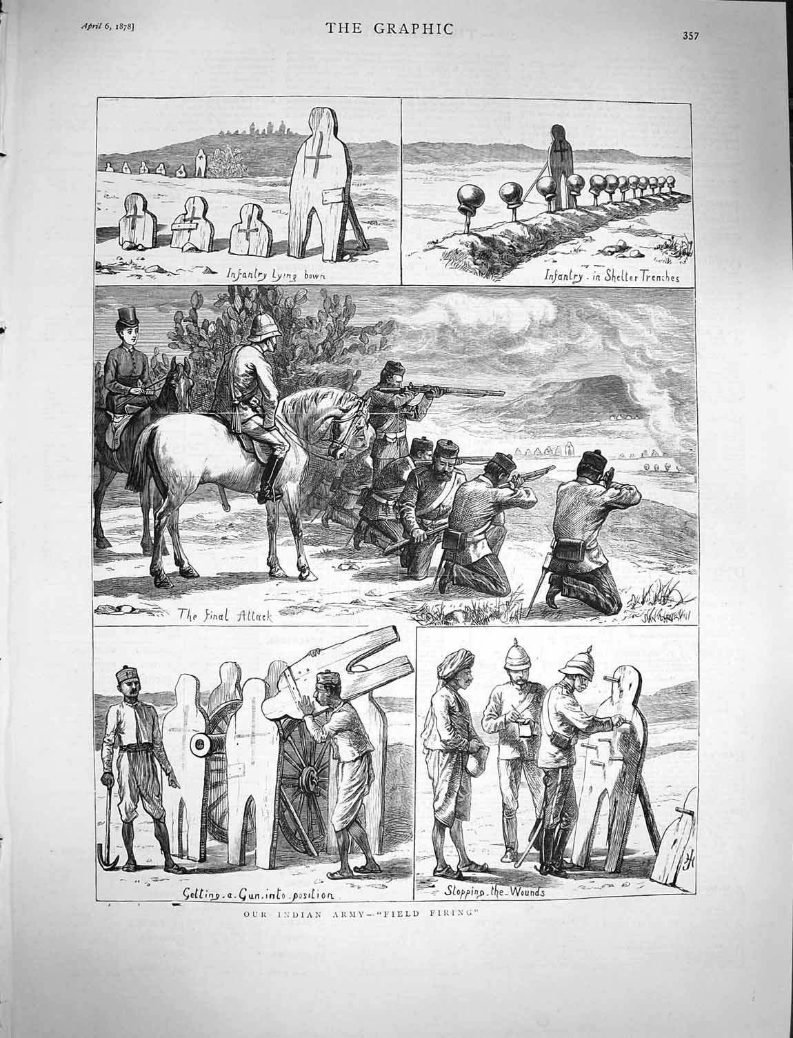 [Print 1878 Indian Army Field Firing Shelter Trenches Soldiers 357M117 Old Original]