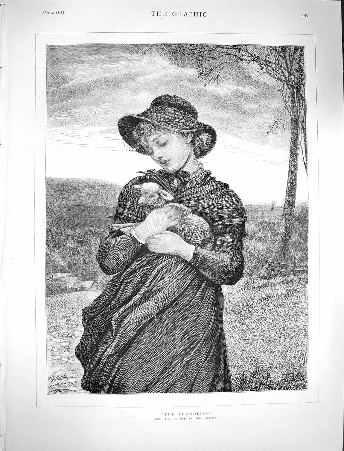 [Print 1878 Staples Young Lady Lamb Country Scene 449M117 Old Original]