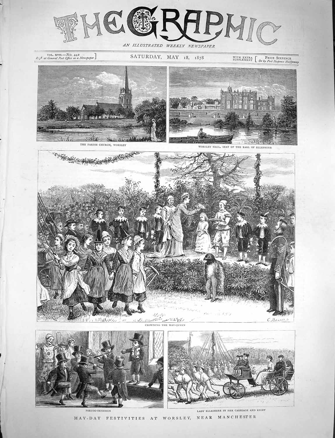 [Print 1878 Worsley Manchester Church Ellesmere May-Queen 477M117 Old Original]