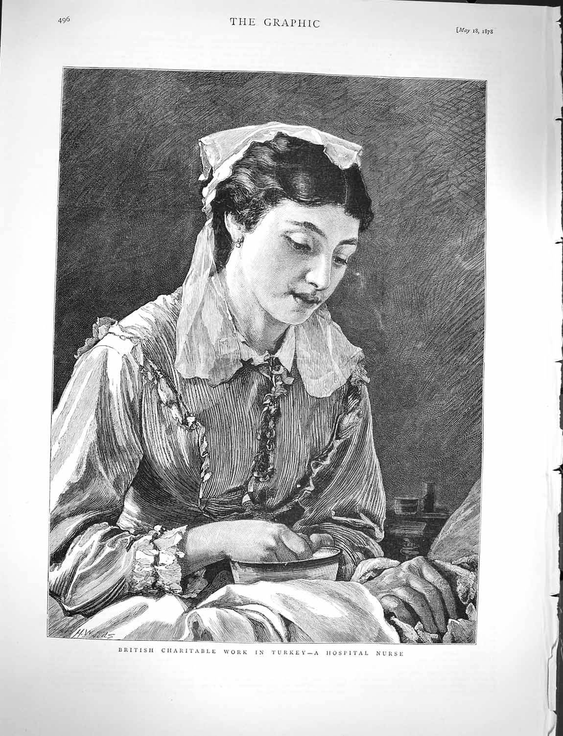 [Print 1878 British Charity Turkey Hospital Nurse Lady 496M117 Old Original]