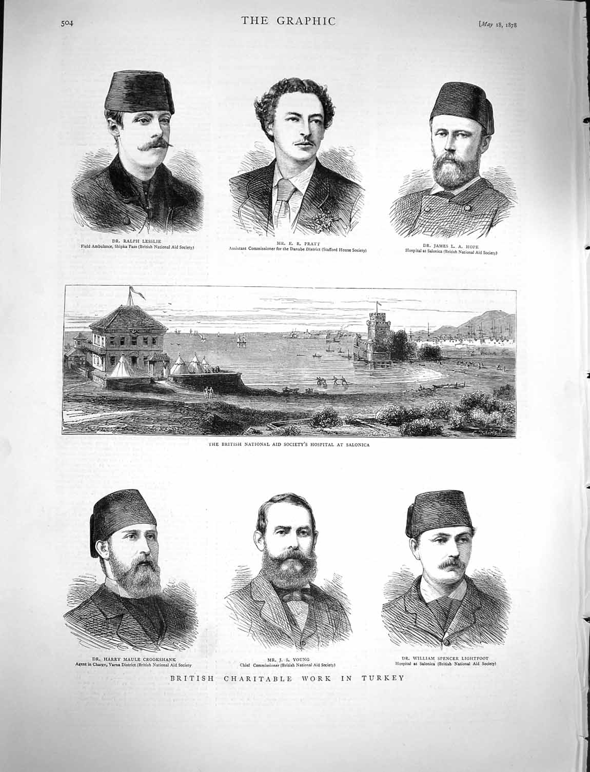[Print 1878 British Hospital Salonica Lesslie Pratt Hope Young 504M117 Old Original]