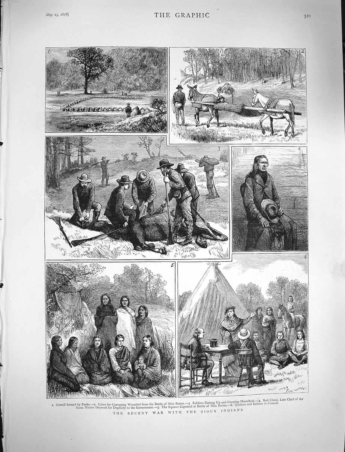 [Print 1878 War Sioux Indians Corrall Soldiers Red Cloud Squaw 521M117 Old Original]