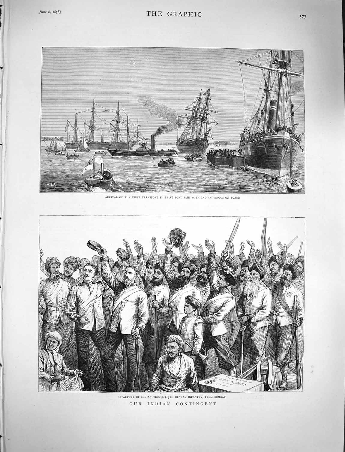 [Print 1878 Transport Ships Port Said Indian Army Bombay War 577M117 Old Original]