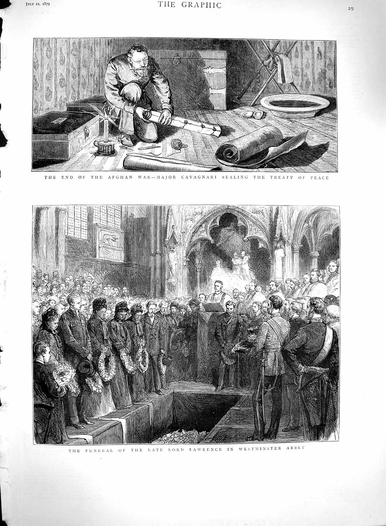 [Print 1879 Funeral Lawrence Westminster Abbey Cavagnari War 029M120 Old Original]