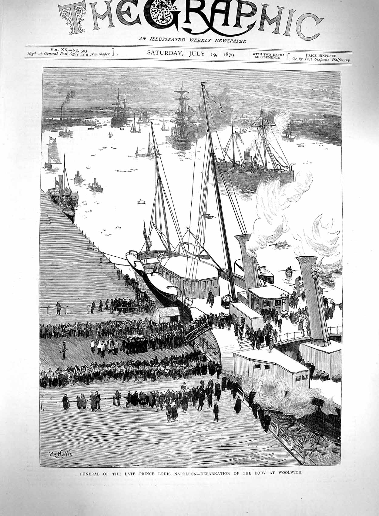 [Print 1879 Funeral Prince Louis Napoleon Body Ship Woolwich 049M120 Old Original]