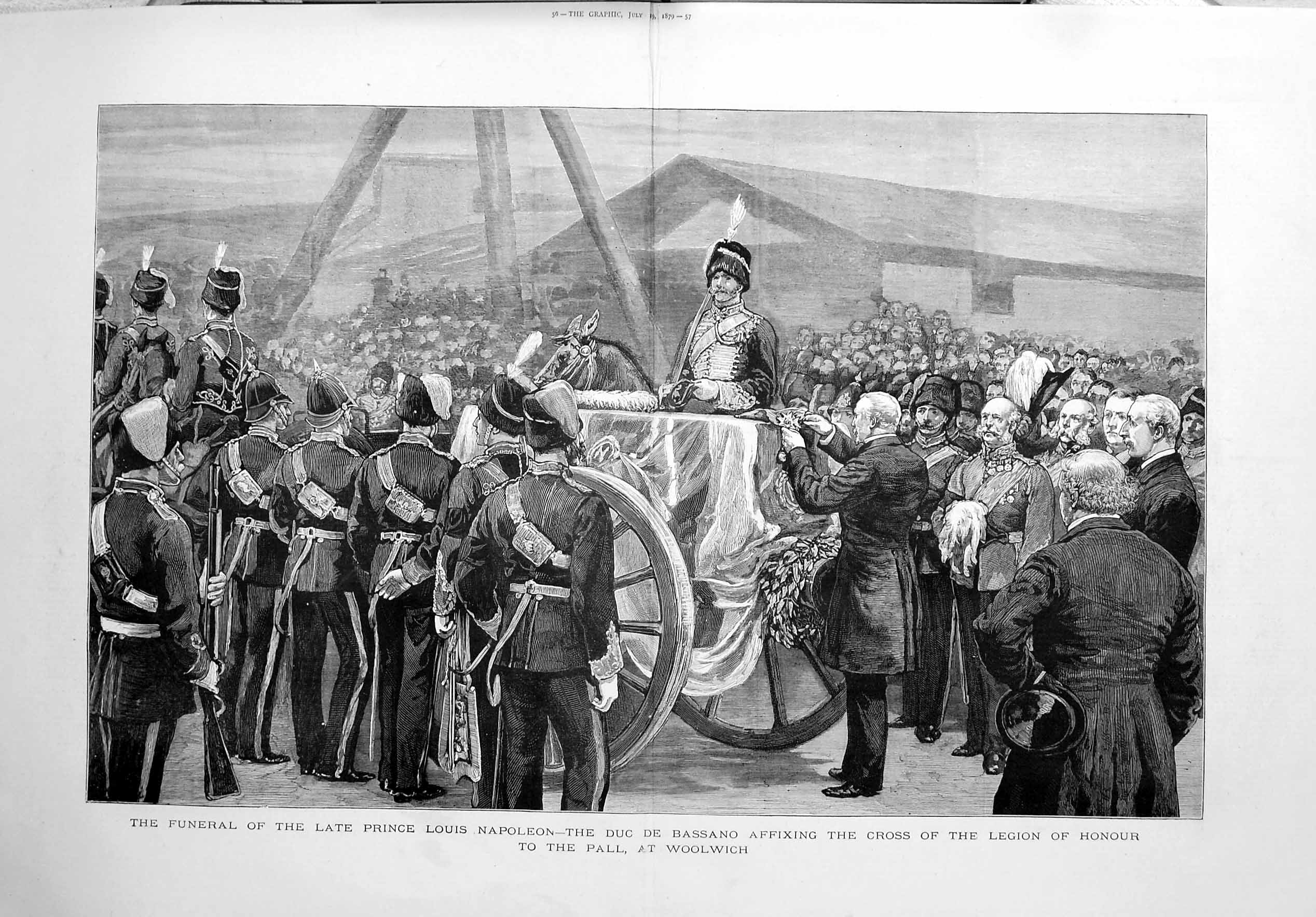 [Print 1879 Funeral Prince Louis Napoleon Bassano Woolwich 055Tm120 Old Original]