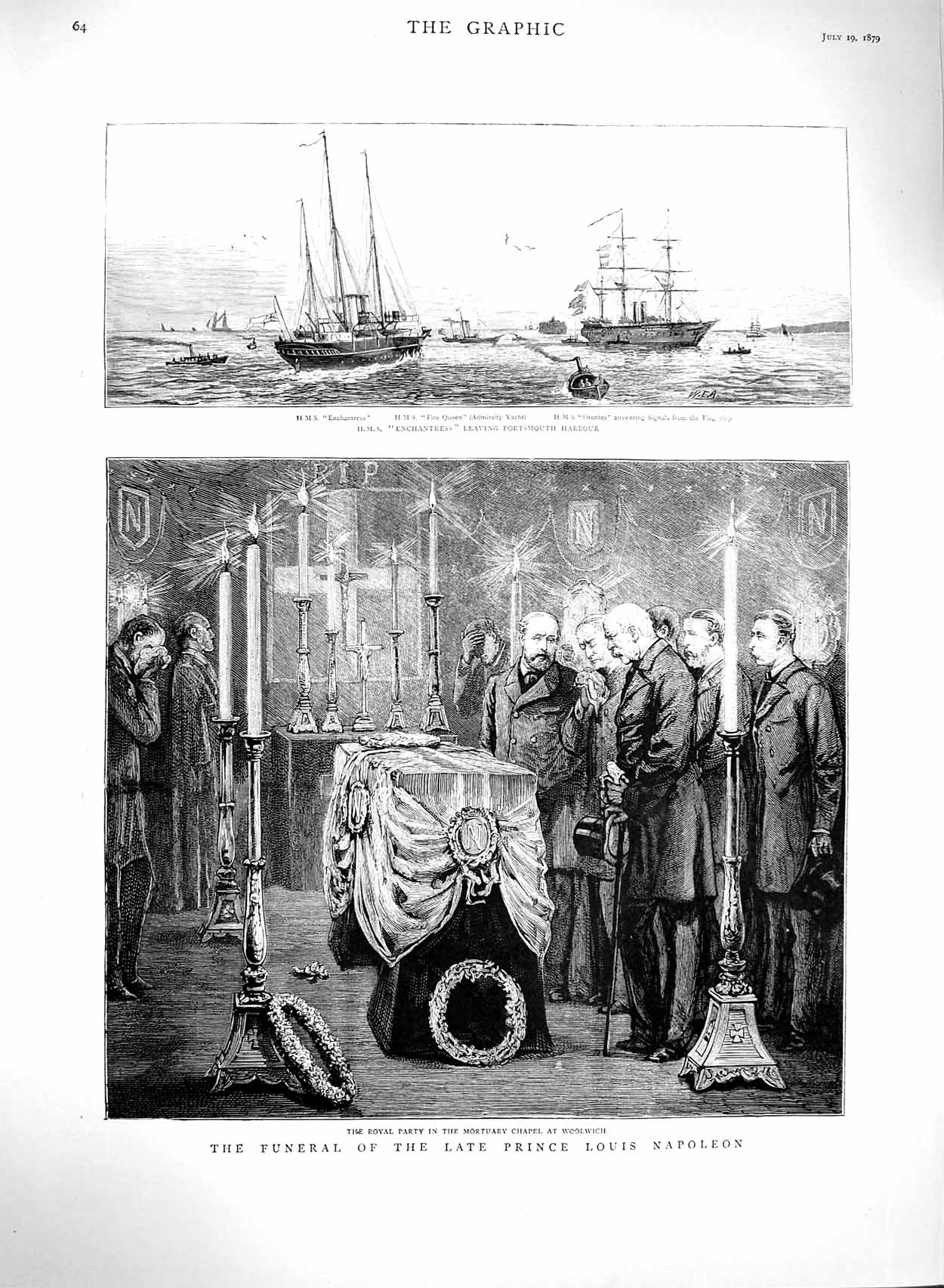 [Print 1879 Funeral Prince Napoleon Woolwich Ship Enchantress 064M120 Old Original]