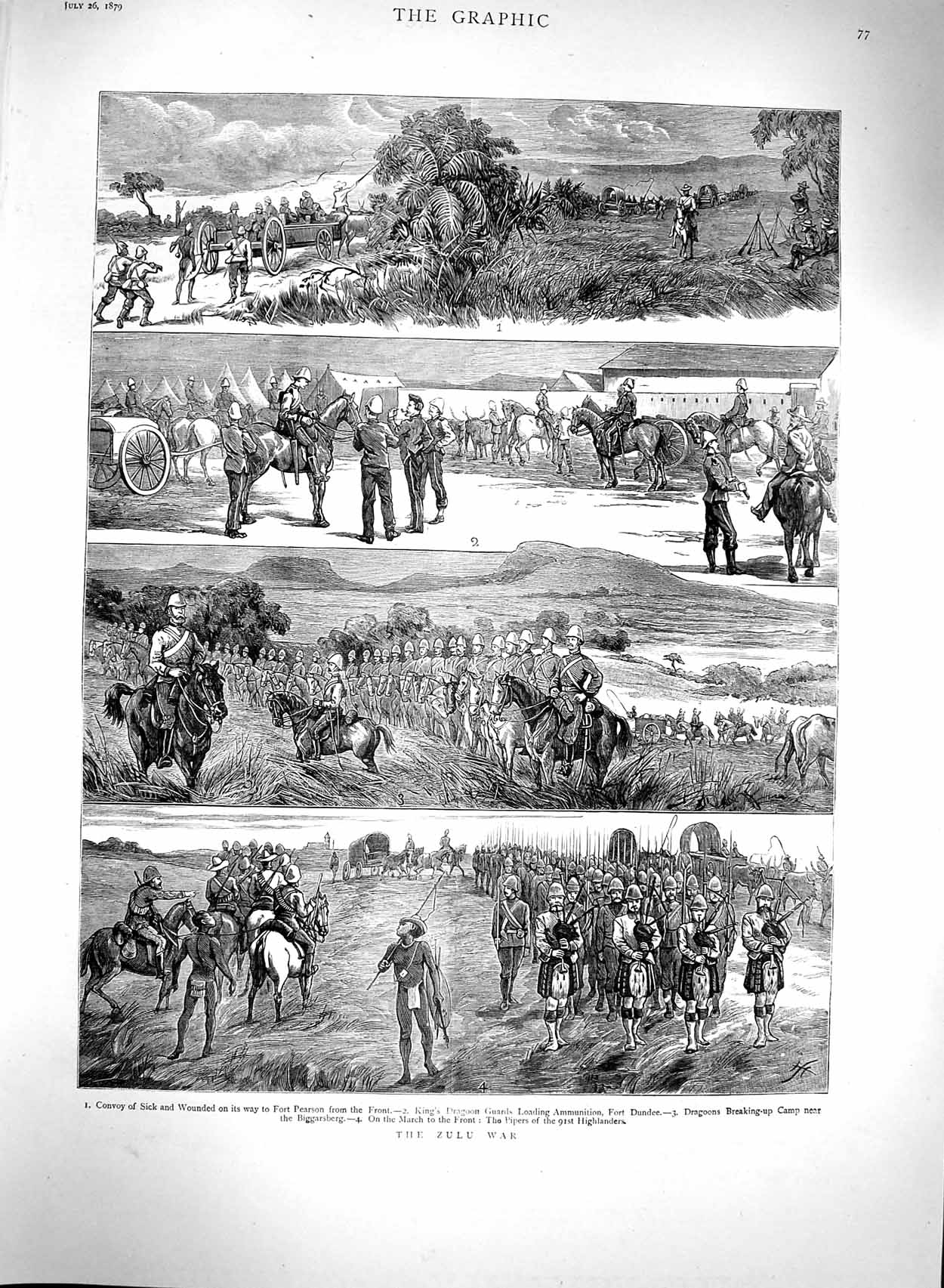 [Print 1879 Zulu War Fort Dundee Dragoons Highlanders Army 077M120 Old Original]