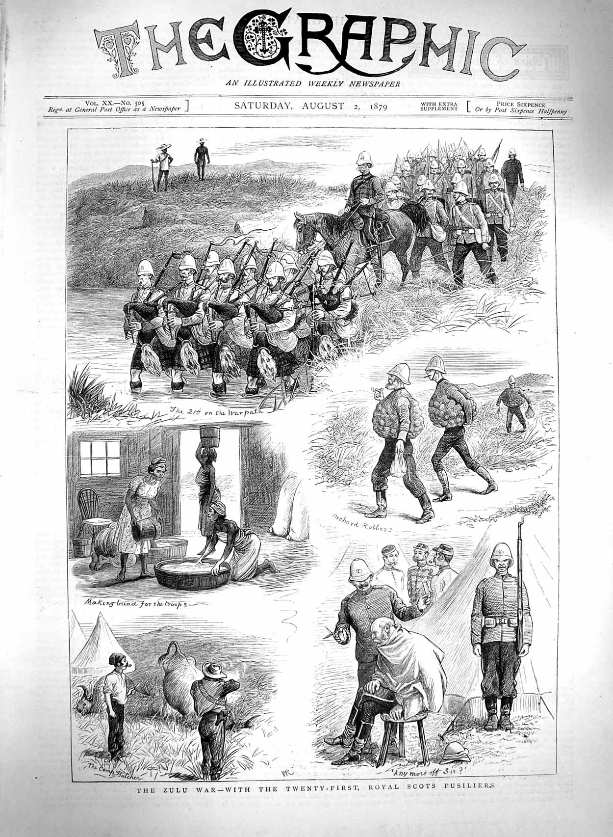 [Print 1879 Zulu War Royal Scots Fusiliers Soldiers Natives 097M120 Old Original]