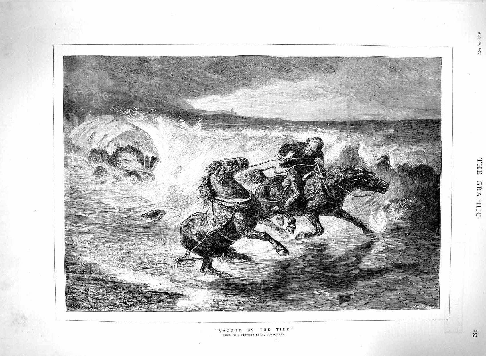 [Print 1879 Bottomley Fine Art Stormy Sea Horses Man 153M120 Old Original]