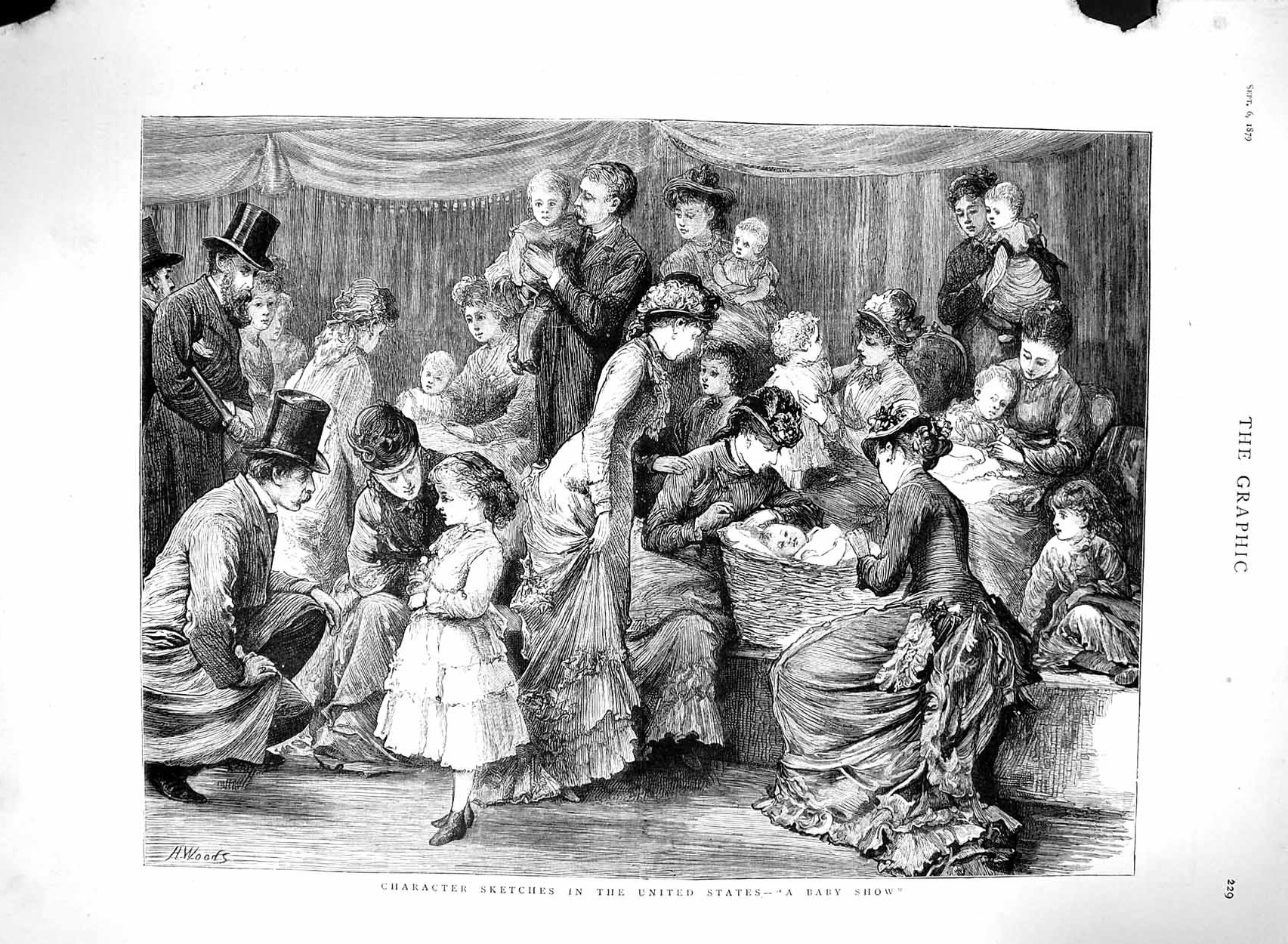 [Print 1879 Baby Show Character Sketch United States America 229M120 Old Original]