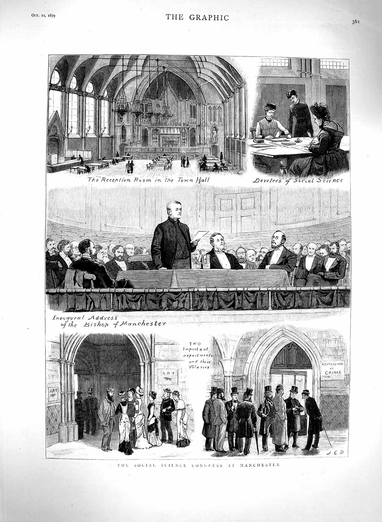 [Print 1879 Social Science Congress Manchester Bishop Hall 361M120 Old Original]