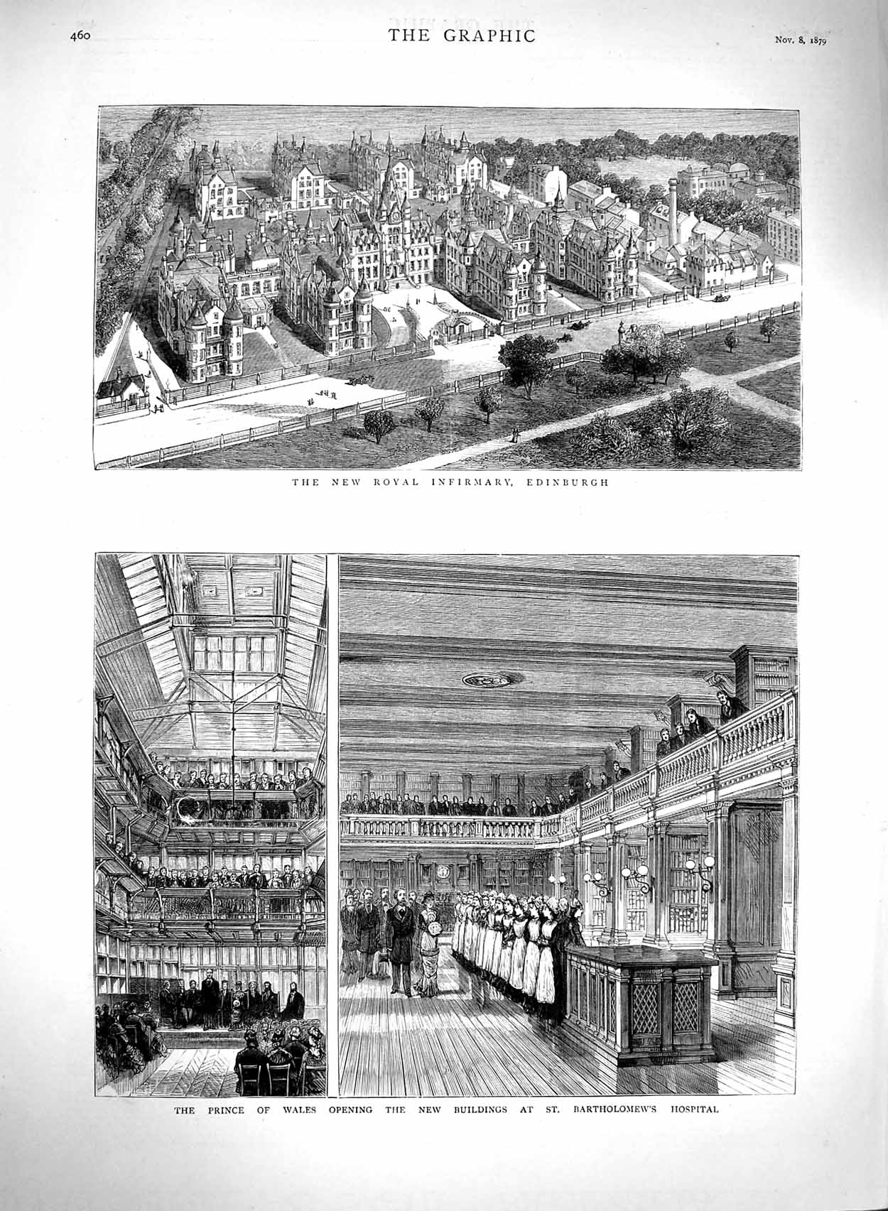 [Print 1879 Prince Wales Bartholomews Hospital Royal Edinburgh 460M120 Old Original]