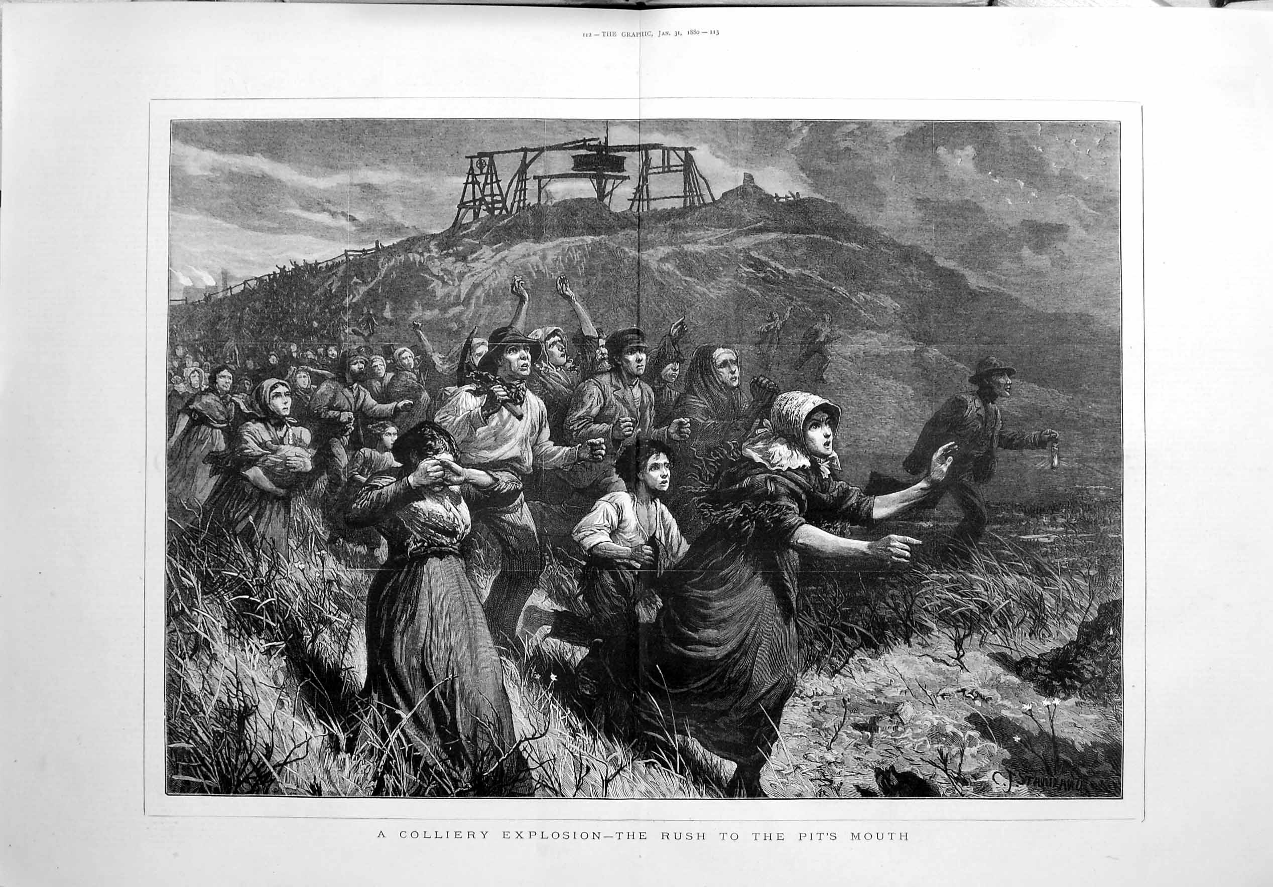 [Print 1880 Colliery Explosion Mining Pit Mouth Families Art 111Tm121 Old Original]