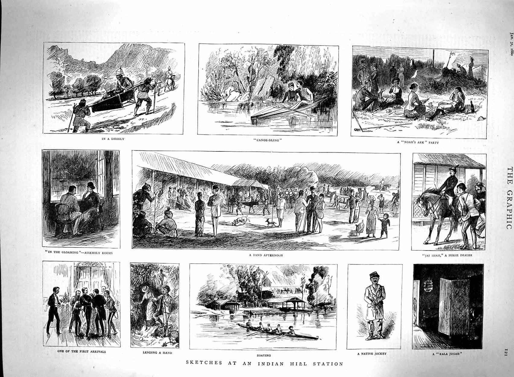 [Print 1880 Indian Hill Station Canoe Boating Native Jockey 121M121 Old Original]