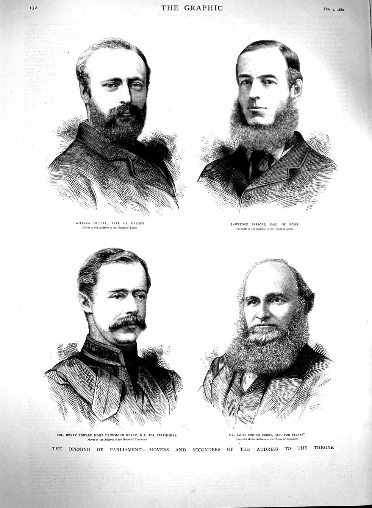 [Print 1880 Parliament Earl Onslow Rosse Belfast Corry Moray 132M121 Old Original]
