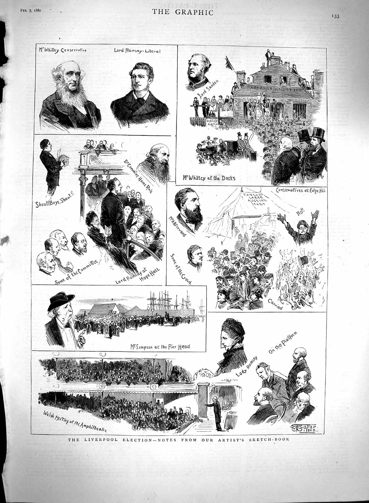 [Print 1880 Liverpool Election Whitley Lord Ramsey Simpson 133M121 Old Original]