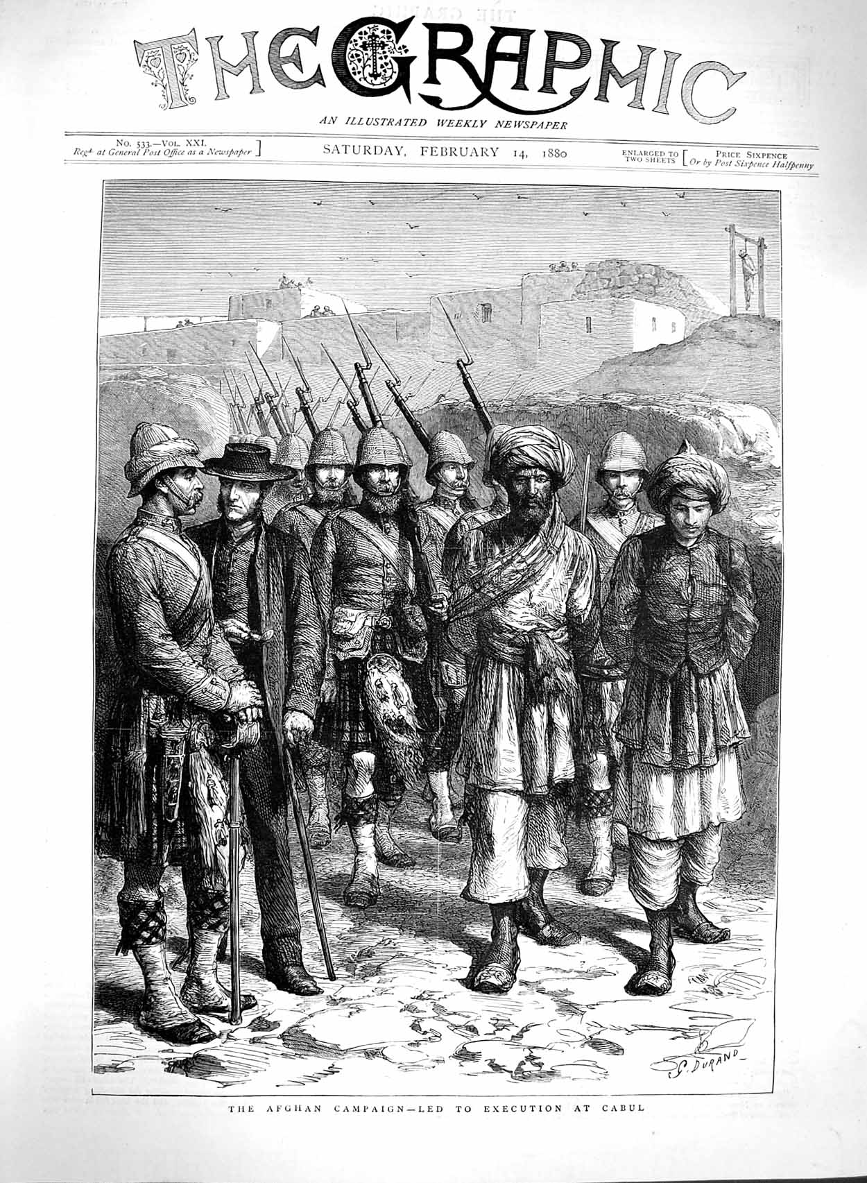 [Print 1880 Afghan Campaign Cabul War Scottish Soldiers Army 153M121 Old Original]