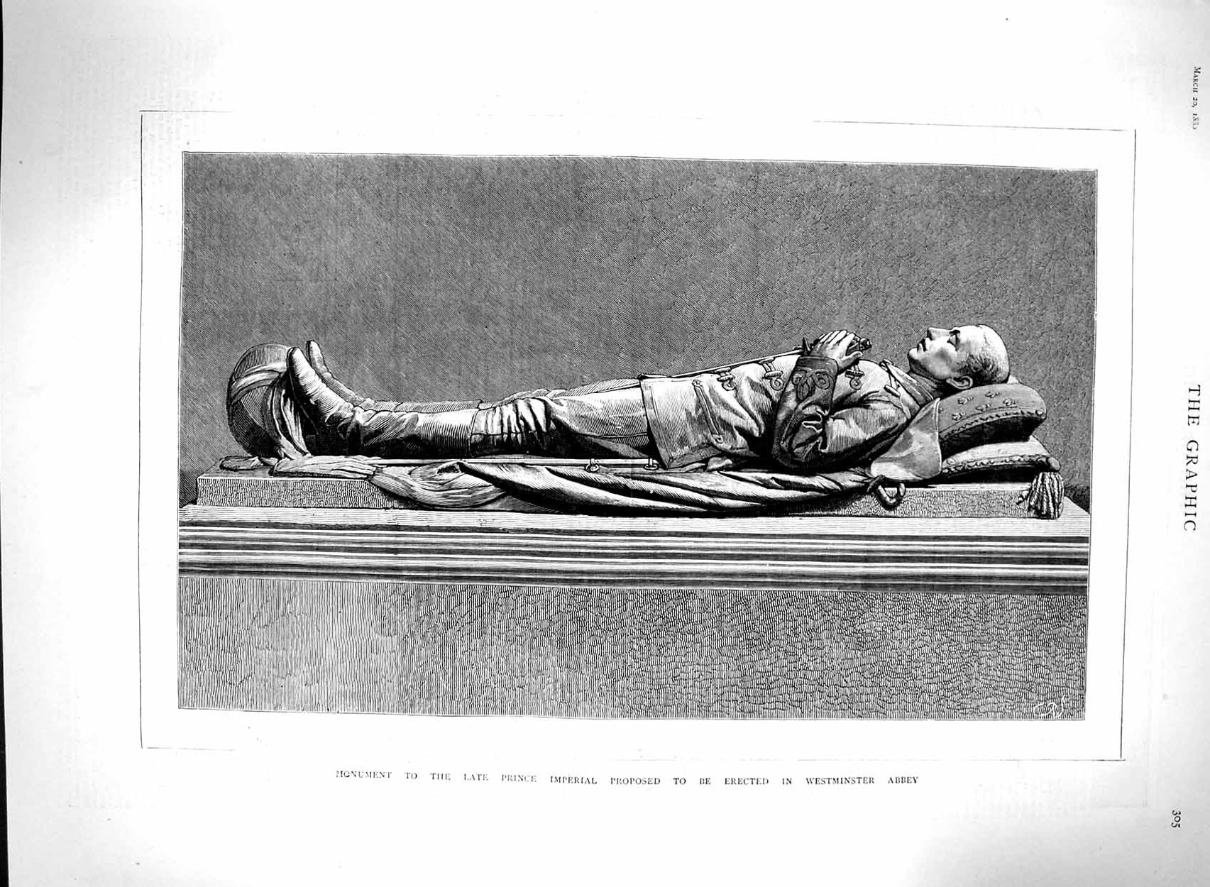 [Print 1880 Monument Prince Imperial Westminster Abbey London 305M121 Old Original]