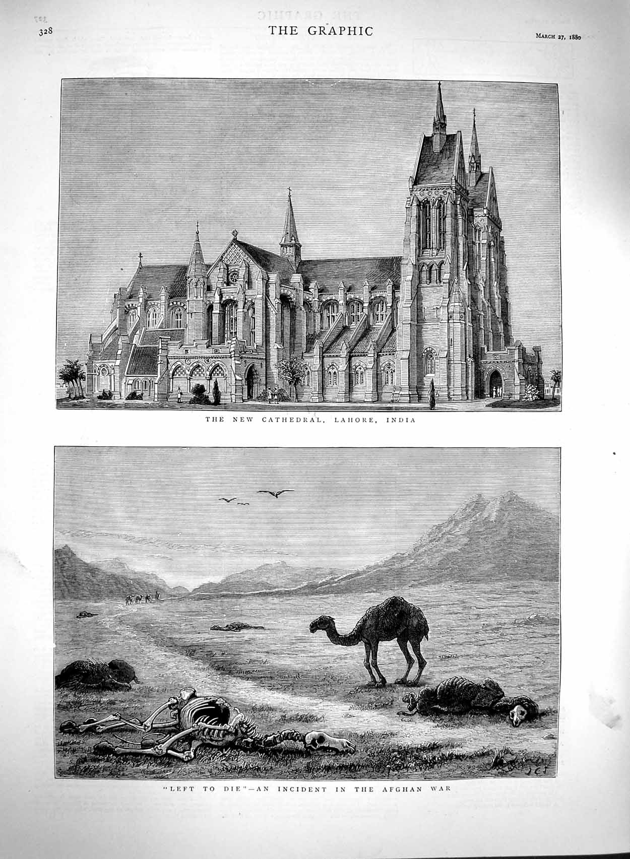 [Print 1880 Cathedral Lahore India Afghan War Dead Camels 328M121 Old Original]