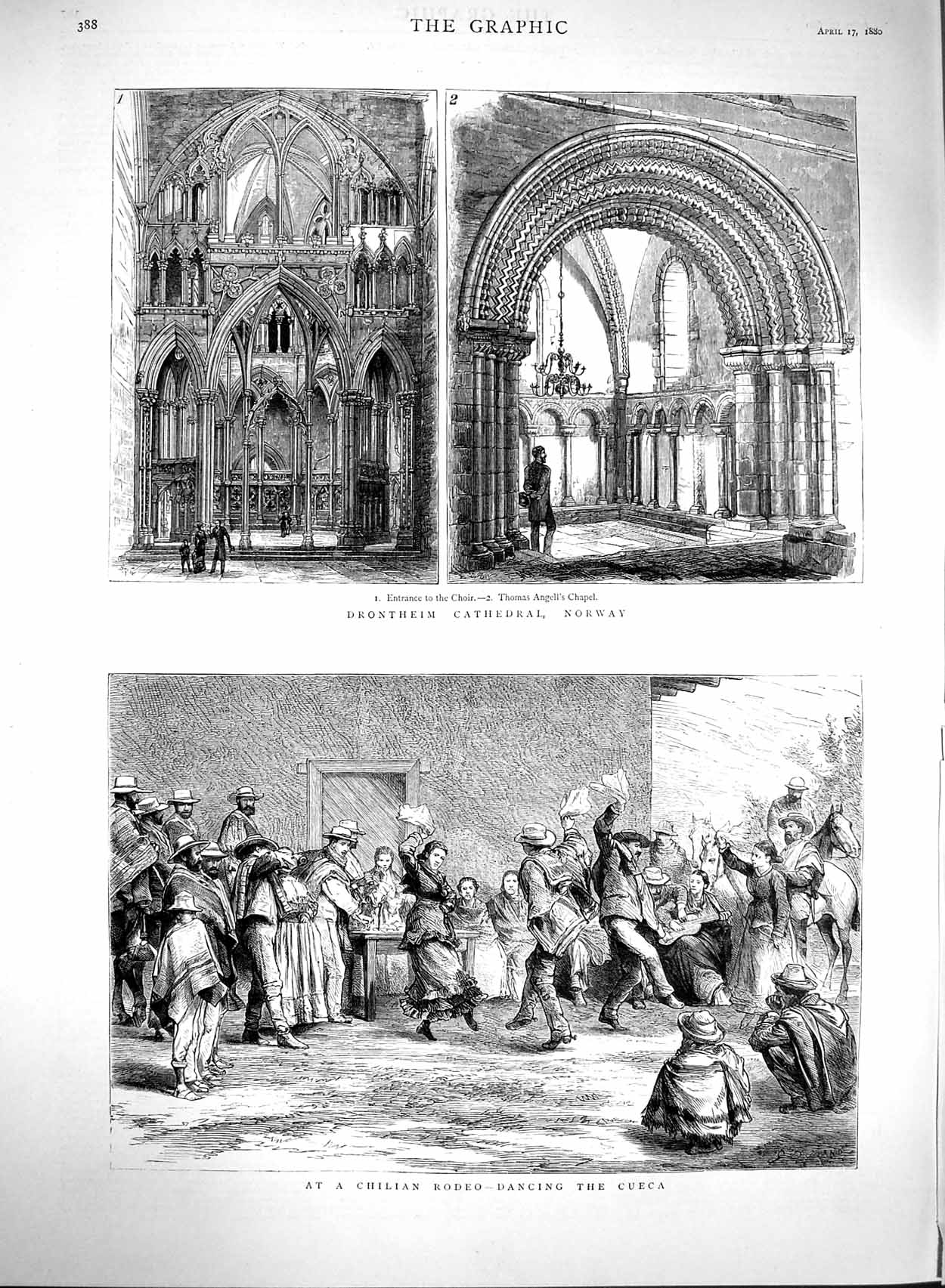 [Print 1880 Drontheim Cathedral Norway Chilian Rodeo Cueca 388M121 Old Original]
