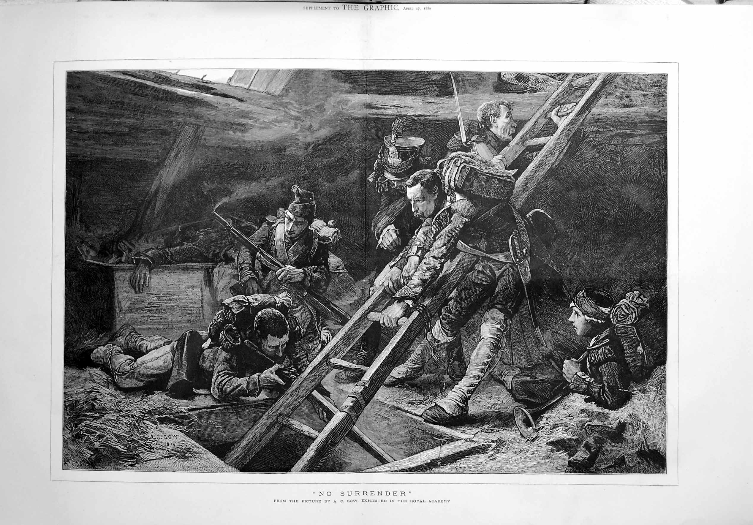 [Print 1880 War Soldiers Trench Weapons Gow Royal Academy Art 408Tm121 Old Original]