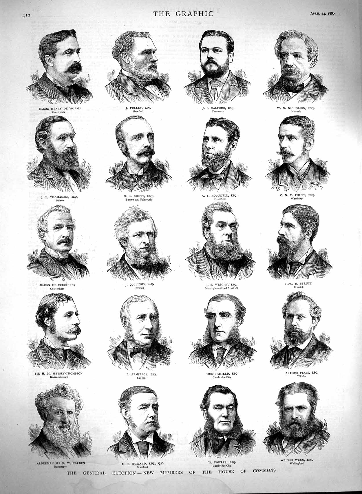 [Print 1880 General Election Members House Commons Wren Pease 412M121 Old Original]