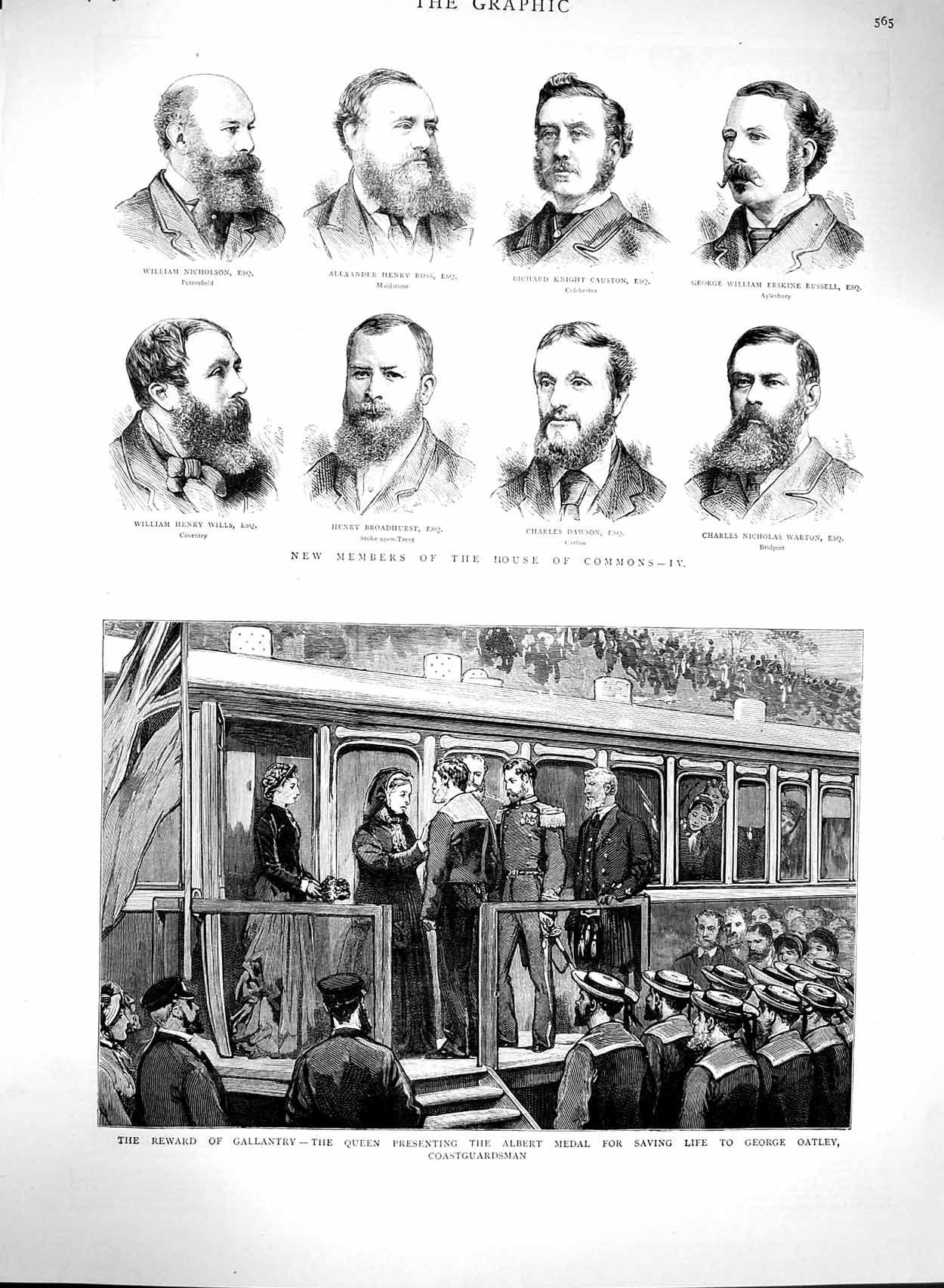 [Print 1880 House Commons Queen Albert Medal George Oatley 565M121 Old Original]