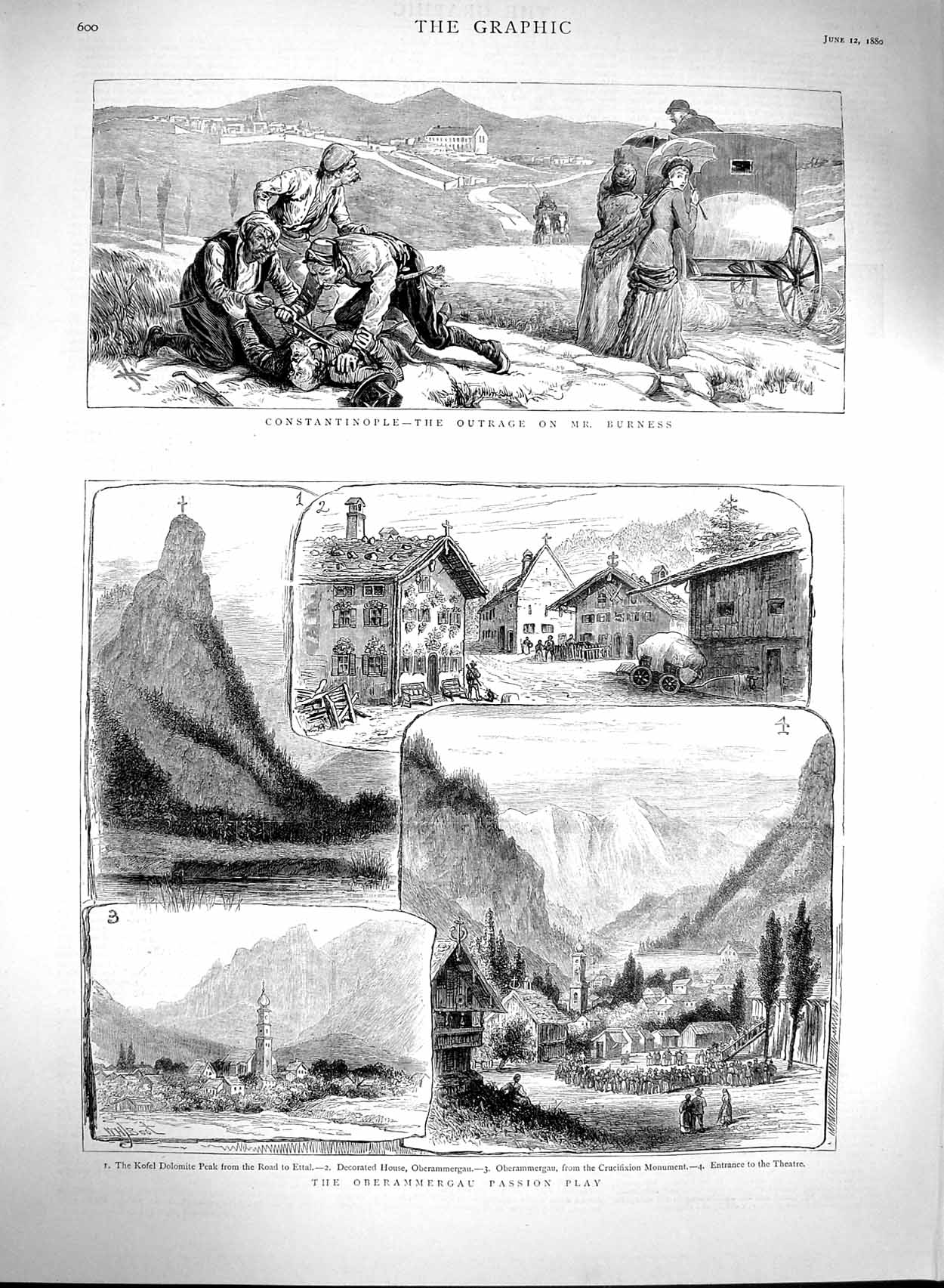 [Print 1880 Oberammergau Passion Play Theatre Constantinople 600M121 Old Original]
