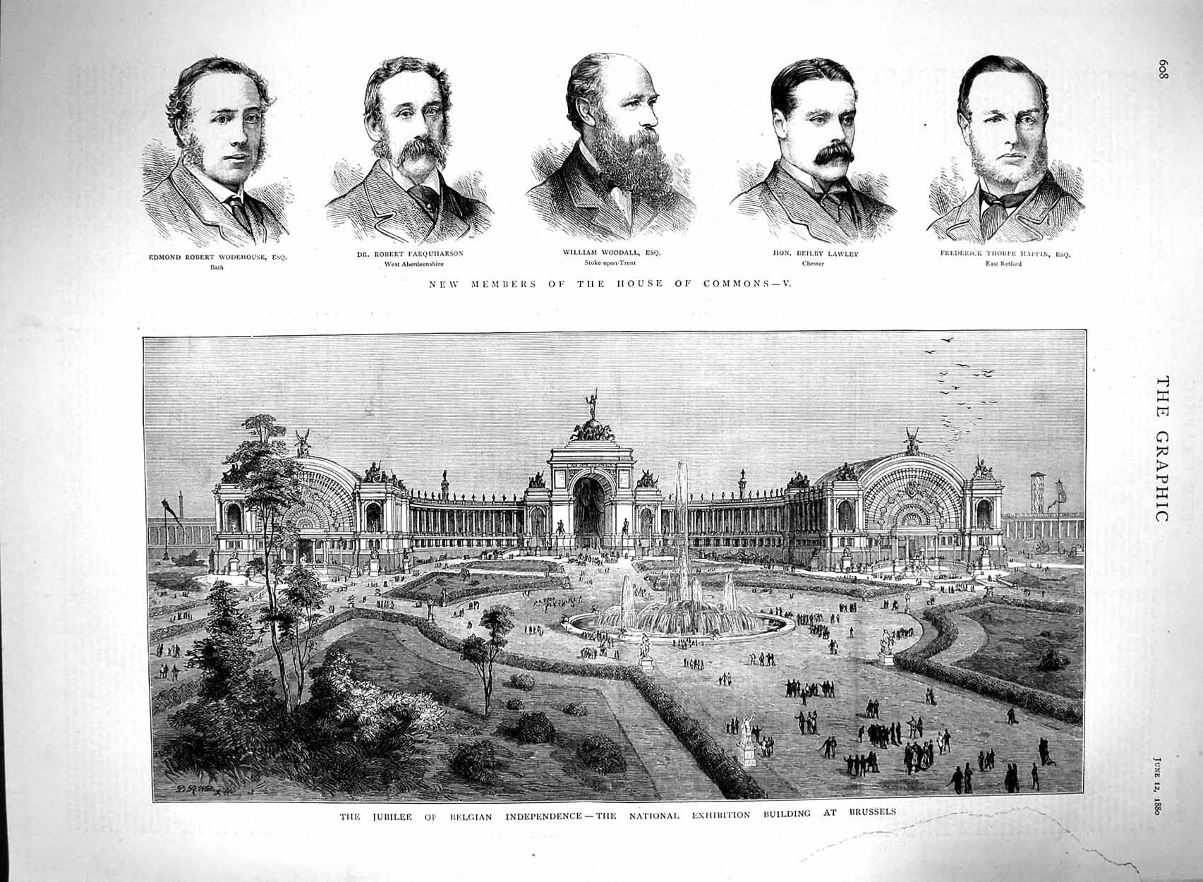 [Print 1880 Exhibition Building Brussels House Commons Lawley 608M121 Old Original]