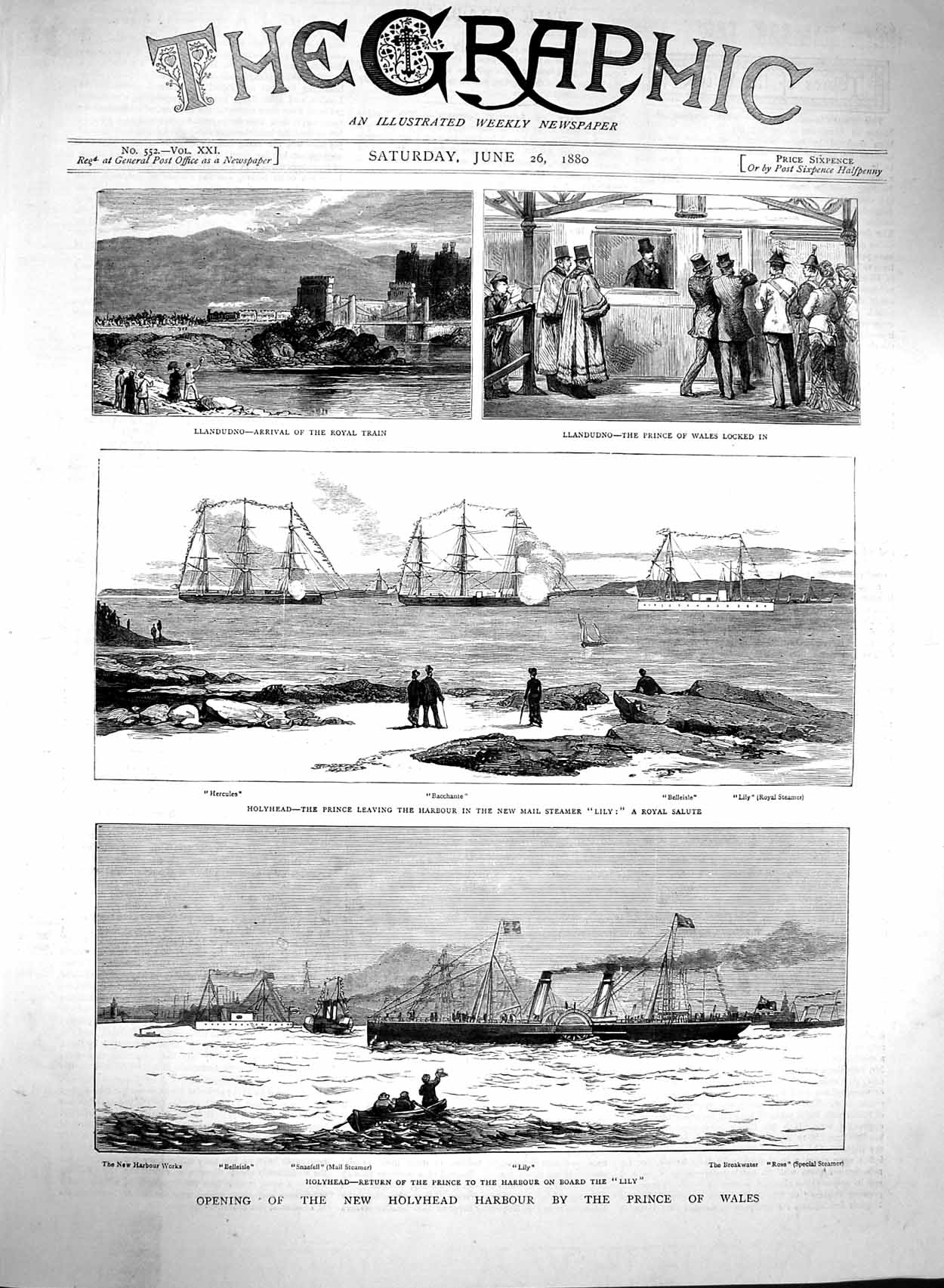 [Print 1880 Holyhead Harbour Prince Wales Ships Belleisle 637M121 Old Original]