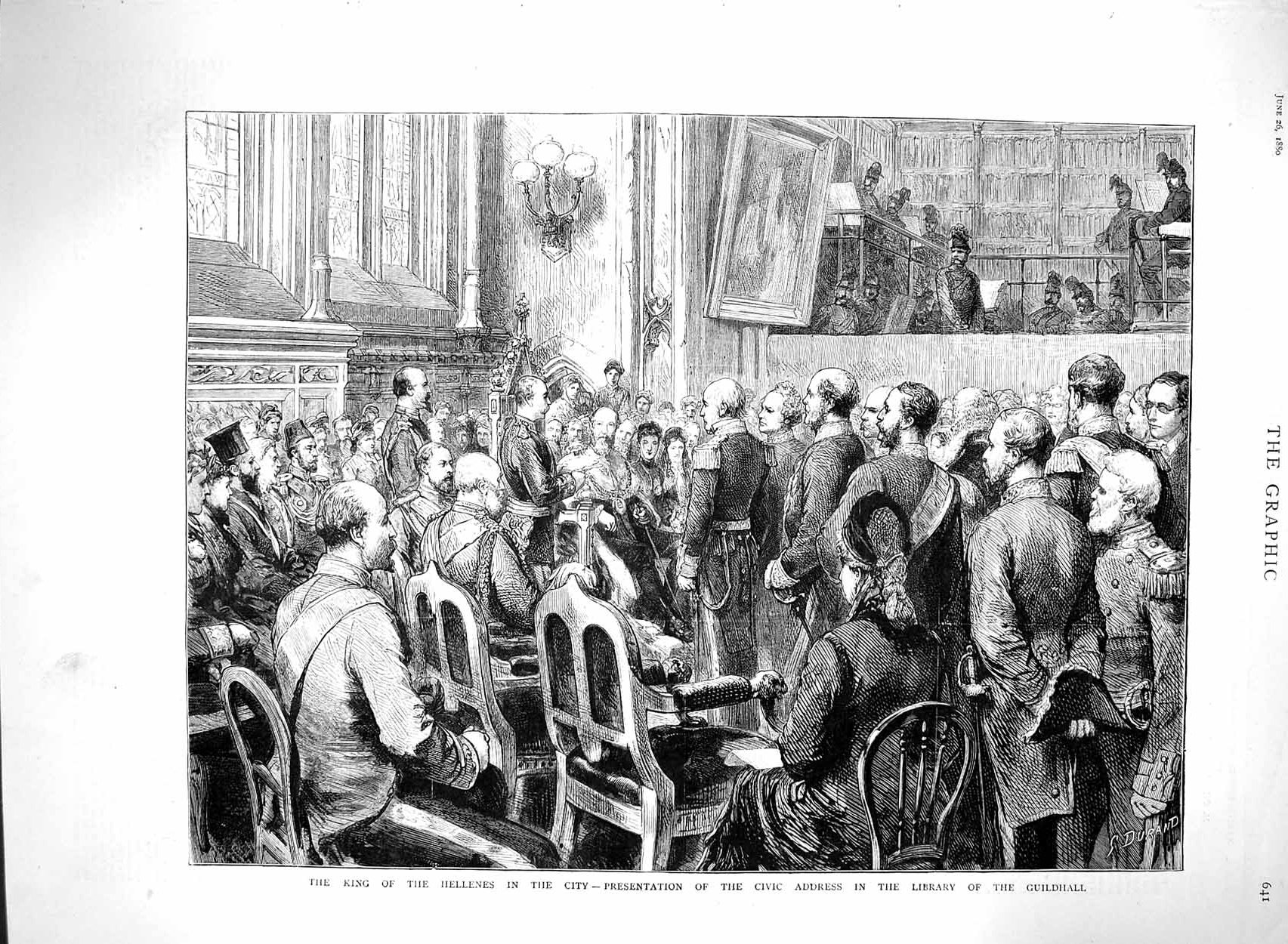 [Print 1880 King Hellenes London Civic Library Guildhall Men 641M121 Old Original]