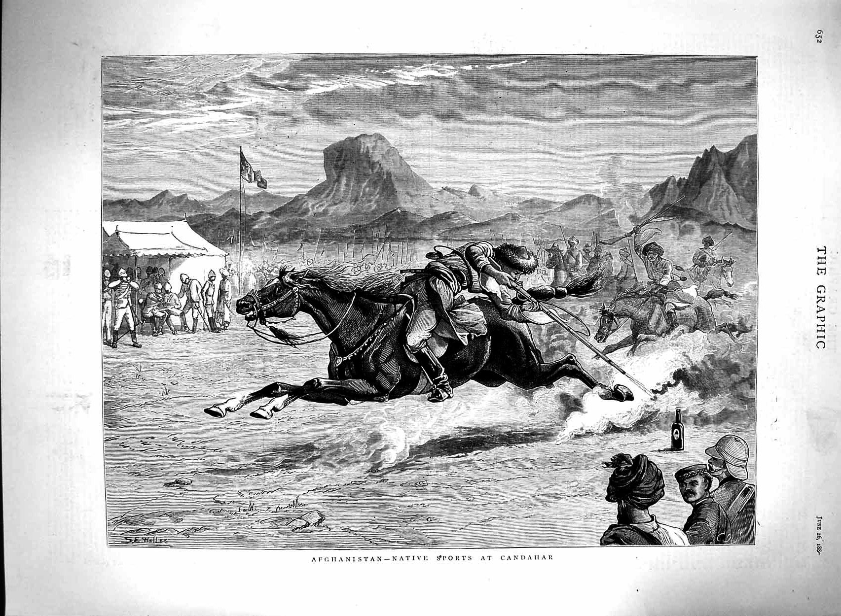 [Print 1880 Afghanistan Native Sports Candahar War Soldiers 652M121 Old Original]