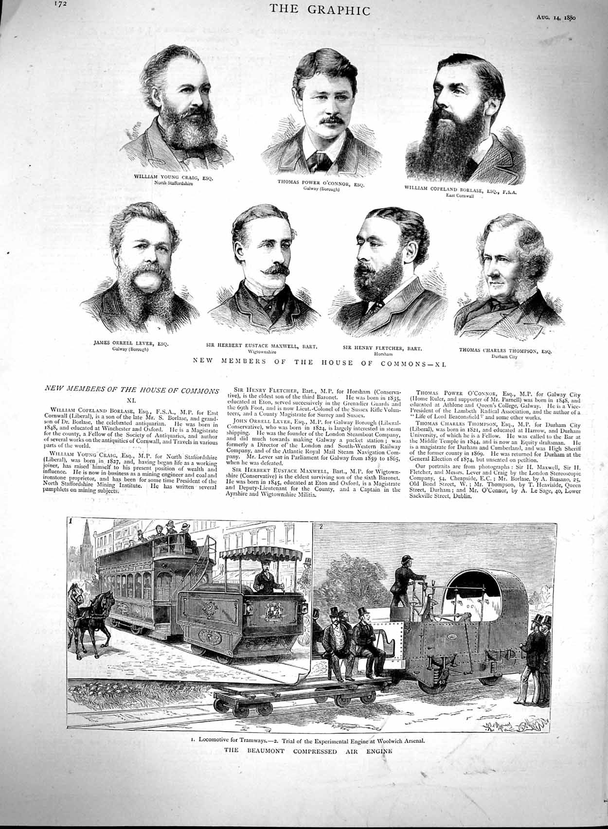 [Print 1880 Beaumont Compressed Air Engine House Commons Bart 172M122 Old Original]