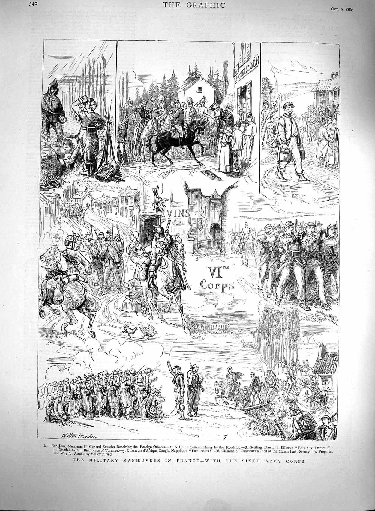 [Print 1880 Military Manoueuvres France Army Corps Soldiers 340M122 Old Original]