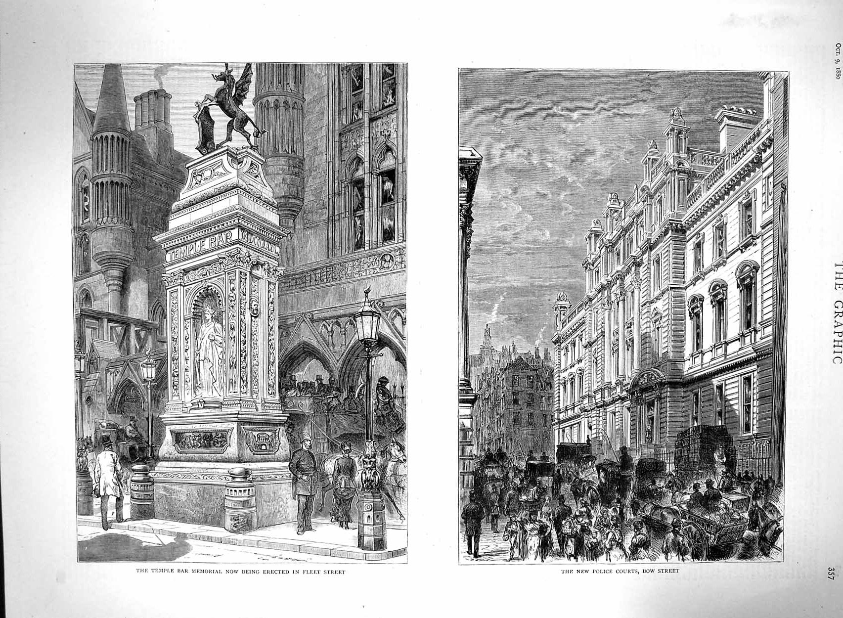 [Print 1880 Temple Bar Memorial Police Courts Bow London 357M122 Old Original]